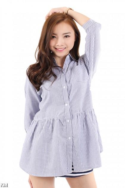 Woman Stripe Collar Shirt [M2933]