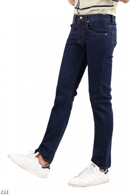 Navy Blue Regular Fit Jeans [M22087]