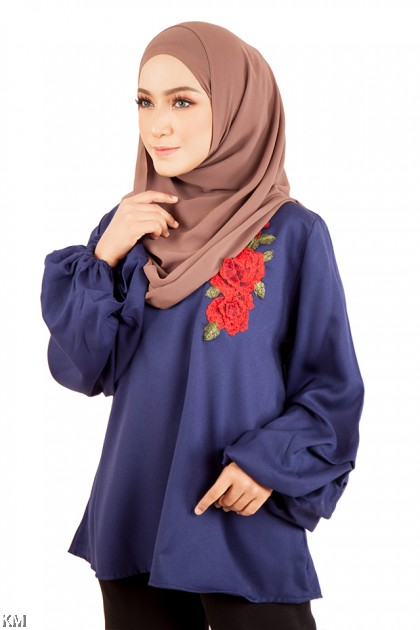 Plus Size Cuff Sleeves Blouse [M12214]