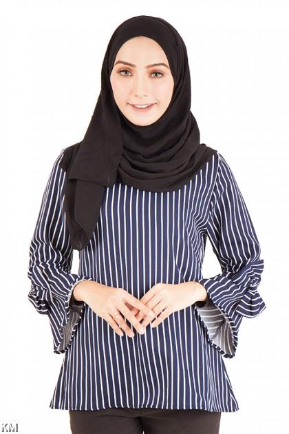 Vertical Striped Muslimah Blouse [M12216]