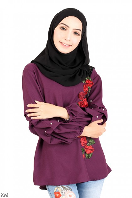 Embroidered Cuff Sleeves Blouse [M14226]