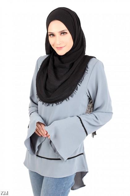 Solid Back Zip Muslimah Blouse [M12321]