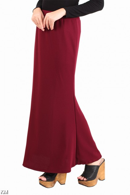 Solid Flare Fit Long Skirt [M15517]