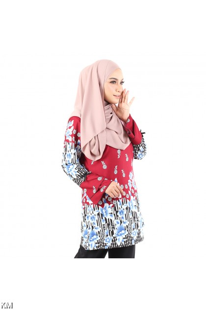 Plus Size Zipped Floral Printed Blouse [M12944]