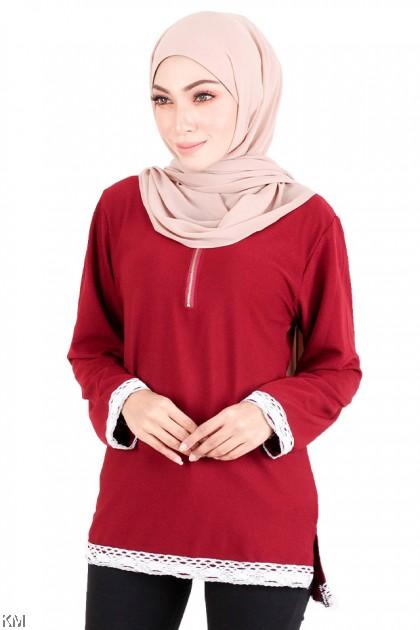 KM Muslimah Front Zipper Blouse [M15987]