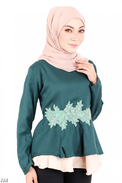Layered Embroidered Solid Blouse [M720]