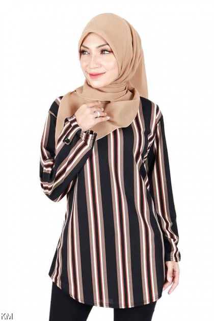 Muslimah Stripes Round Neck Plus Size [B16162]