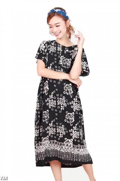Button Short Sleeves Kaftan Dubai Sleeping Dress [D15494]