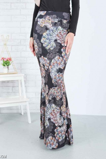 Multi Printed Mermaid Skirt [S19925]