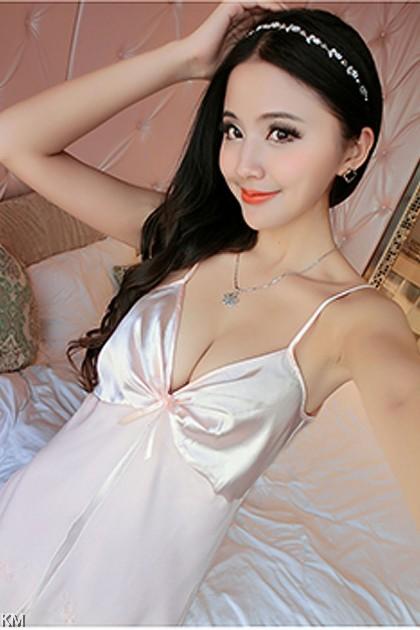 Open Lace Ice Silk Sleep Dress [PJ15666]