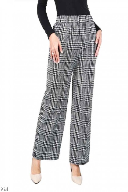 Checkered Printed Straight Cut Pants [P20229]