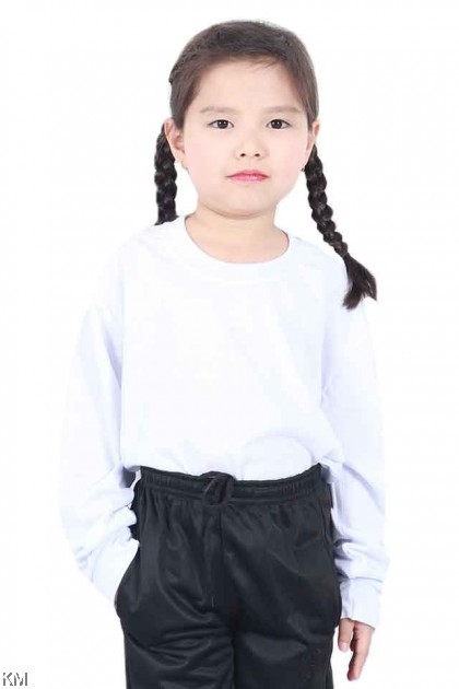 School Round Neck LONG Sleeves White T Shirt [T23149]
