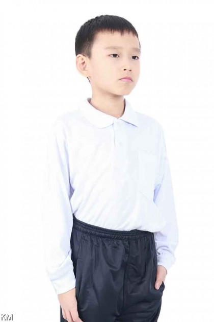 School COLLAR LONG Sleeves White T Shirt [T19801]