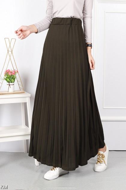 Elastic A Line Pleated Maxi Skirt [S24506]