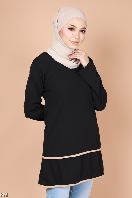 Wathiqa Plus Size Layer Solid Blouse [B27388] [B27389]