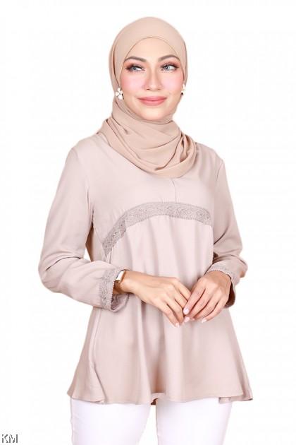Rina V Neck Muslimah Blouse [B22402]