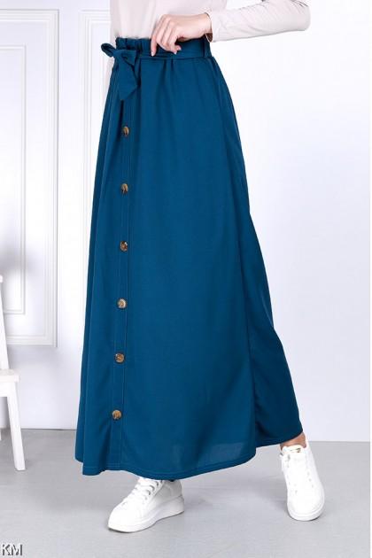 High Waist Ribbon Belt A Line Button Skirt [S32220]