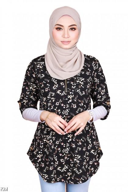 Aqsa Front Zip Half Sleeve Flora Blouse [B32352]