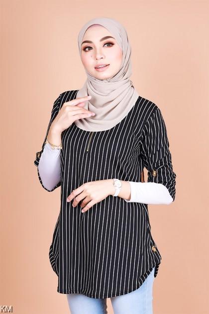 Faiza Striped Zipper Half Sleeves Blouse [B32347]