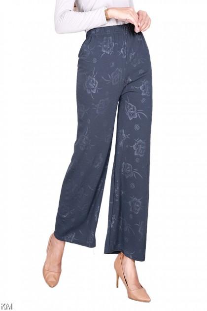 Flower Embossing Solid Pants [P11483]