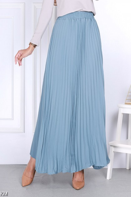 Muslimah Pleated Solid Long Skirt [S11543]