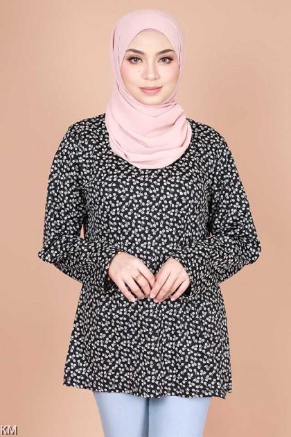 Ghaniyah Neckline Button Floral Blouse [B14779]