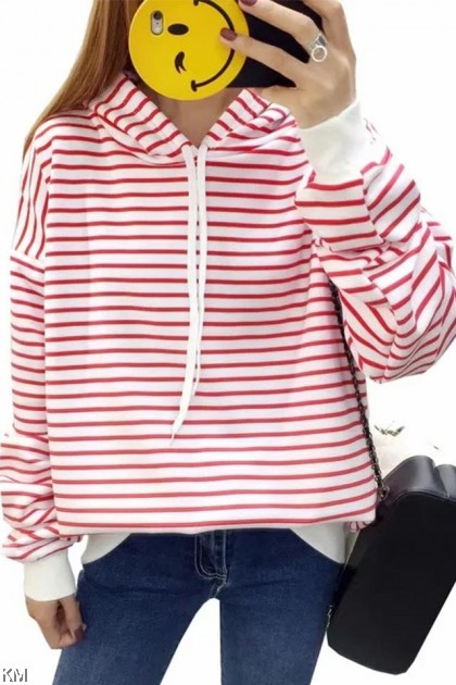 Striped Hooded Drawstring Jacket [T15006]