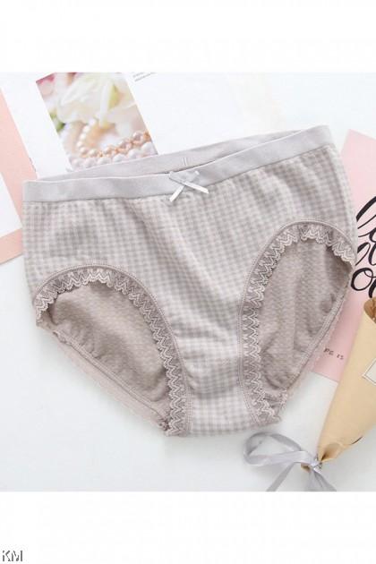 Graphene Antibacterial Checke Panties [L25645]