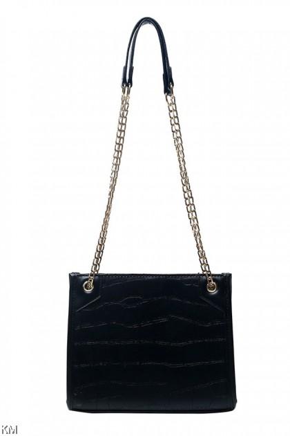 Large Capital Zipper Chain Sling Bag [BG33873]