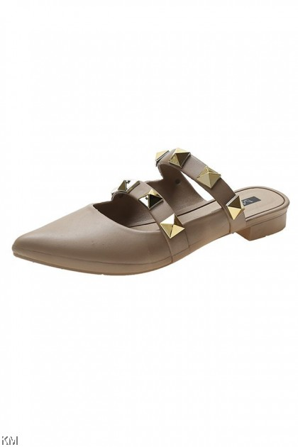 Rivet Double Strap Wedge Sandals [SH32830]