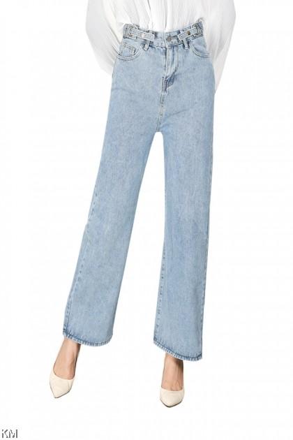 Size 26-36 Adjustable Straight Cut Denim Jeans [P32629]
