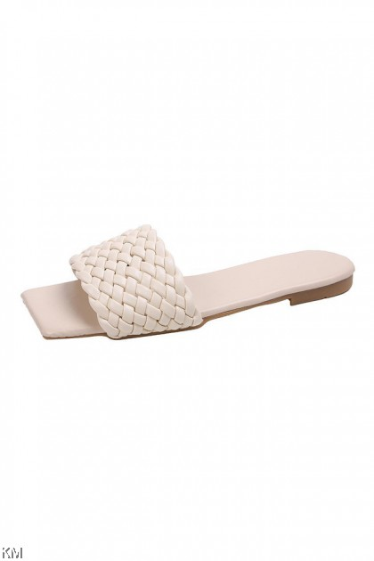 Woven Square Toe Flat Sandals [SH34285]