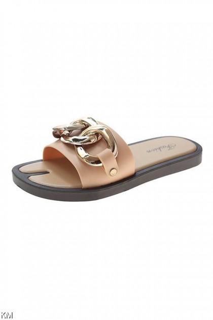 Camio Chain Flat Sandals [SH34625]