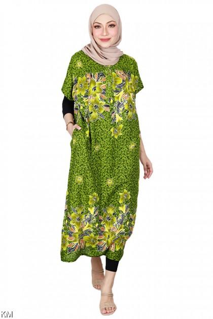 Button Short Sleeve Colorful KAFTAN Sleeping Dress [D5051]