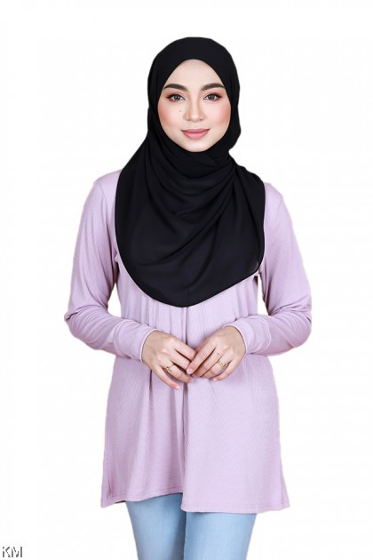 Faridah Front Zip Plain Color Blouse [B34680]